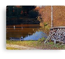 Romantic bench at the pond II | waterscape photography Canvas Print