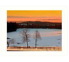 Amazing winter wonderland sundown   landscape photography Art Print