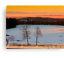 Amazing winter wonderland sundown | landscape photography Canvas Print