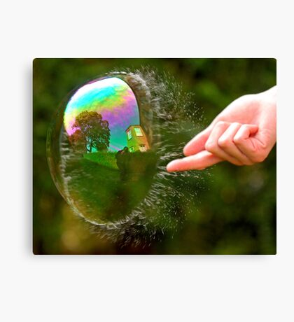 Green Bubble Popping (One-Sided Reflection!) Canvas Print