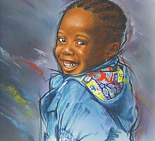 Little girl in a blue jacket by Esther Boshoff