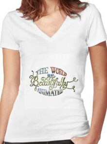 Beautiful World Typography Women's Fitted V-Neck T-Shirt