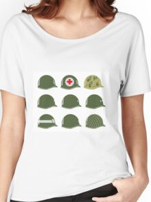 US Army Helmets WW2 Women's Relaxed Fit T-Shirt