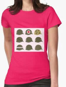 US Army Helmets WW2 Womens Fitted T-Shirt