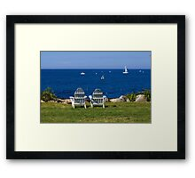 Adirondack Chairs by the Ocean Framed Print
