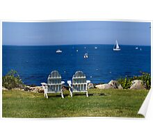 Adirondack Chairs by the Ocean Poster