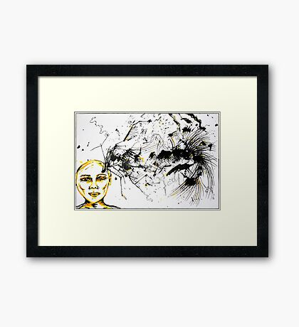 As my thoughts exploded on the page, you left me... Framed Print