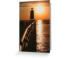 Fiery Waters -- Charlevoix Lighthouse, Michigan Greeting Card