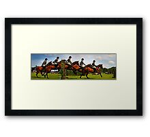 Horse jumping multiple exposure Framed Print