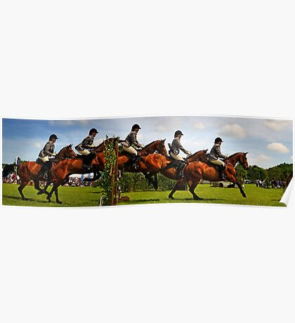 Horse jumping multiple exposure Poster