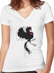 Love Cock Black Women's Fitted V-Neck T-Shirt