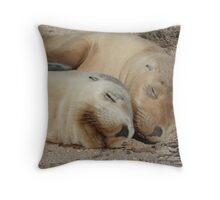 Best mates - Australian sea lion pups  Throw Pillow