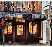 Whiskey Flat Saloon Western Watercolor by Doreen Erhardt
