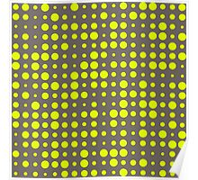 Modern Dots - Chartreuse Fluorescent Neon Grey Ash Charcoal Polka Yellow Green  Poster