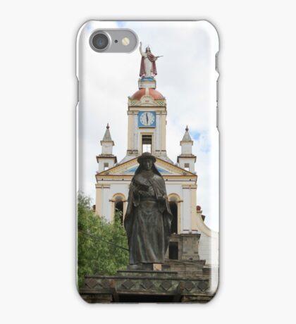 Statue of Saint Anne Next to a Church iPhone Case/Skin