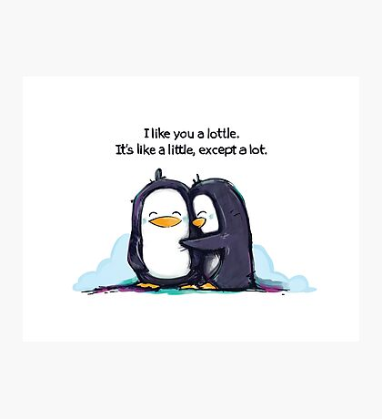 I Like You a Lottle Penguins Photographic Print