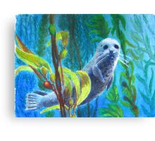 Seal in a Kelp Forest Canvas Print