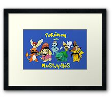pokemon pikachu charmander mustache chibi anime shit Framed Print