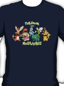 pokemon pikachu charmander mustache chibi anime shit T-Shirt