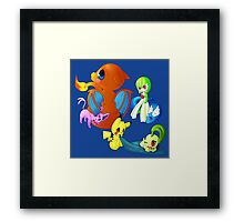 pokemon charmander pikachu dragonite espeon anime shirt Framed Print