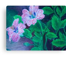 Red Veined Flowers Canvas Print