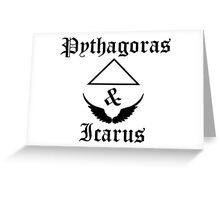 Pythagoras & Icarus Old English Style Word Print Design Greeting Card