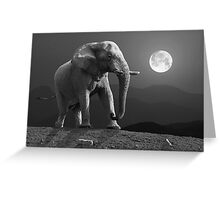 MOONRISE WITH ELEPHANT Greeting Card