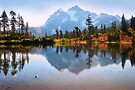 Mount Shuksan and Picture Lake in Fall. North Cascades National Park. WA. USA. by photosecosse /barbara jones