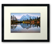 Mount Shuksan and Picture Lake in Fall. North Cascades National Park. WA. USA. Framed Print