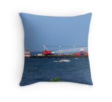 Barge Traffic in the Tidewater Basin Throw Pillow