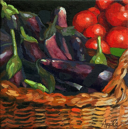 Eggplant &amp; Tomatoes by LindaAppleArt