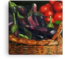 Eggplant & Tomatoes Canvas Print