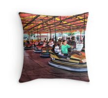 The Dodgems at Hawkesbury Upton Fair and Horticultural Show.  Throw Pillow