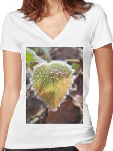 Colorful heartshaped leaf with frost Women's Fitted V-Neck T-Shirt