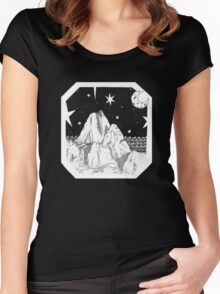 Inky Moonlit Mountains Women's Fitted Scoop T-Shirt