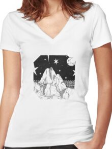 Inky Moonlit Mountains Women's Fitted V-Neck T-Shirt