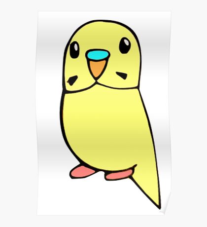 Yellow Budgie Drawing Poster