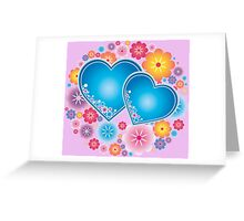 Sparkling blue hearts Greeting Card
