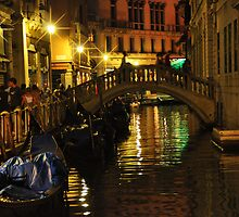 Night Scene on a Small Canal in Venice by Mitchell Grosky