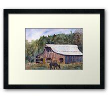 Spring On The Farm - Rural Watercolor Landscape Framed Print
