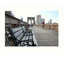 Brooklyn Bridge bench Art Print