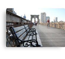 Brooklyn Bridge bench Metal Print