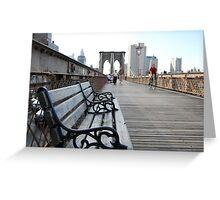 Brooklyn Bridge bench Greeting Card
