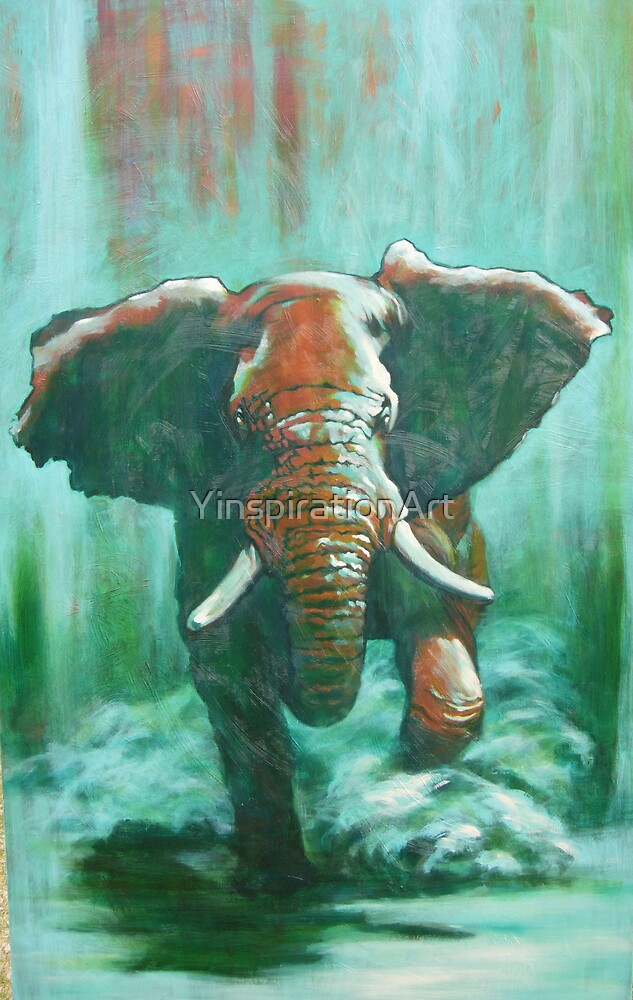 Charging Elephant under the Light of the Full Moon by YinspirationArt
