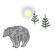 Bear and moon with trees by Imaginenorth