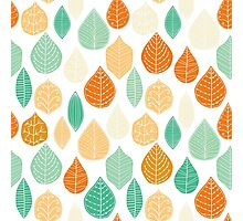 Colorful Stayed Fall Leafs Pattern Photographic Print