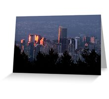 Fiery Sunset Reflected in Downtown Windows Greeting Card