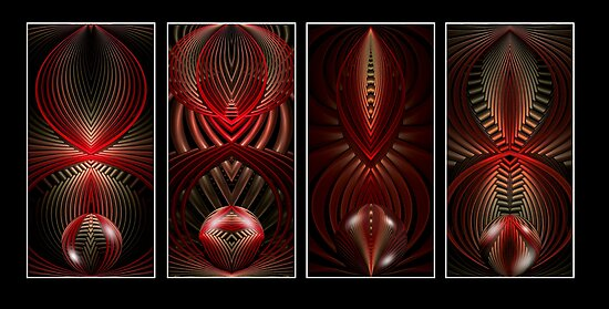Art Deco Mural-Dark Red by plunder