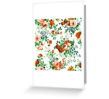Colorful Flowers And Roses Pattern Greeting Card