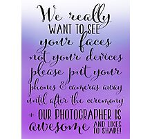 Wedding Photography 5 - Purple Photographic Print